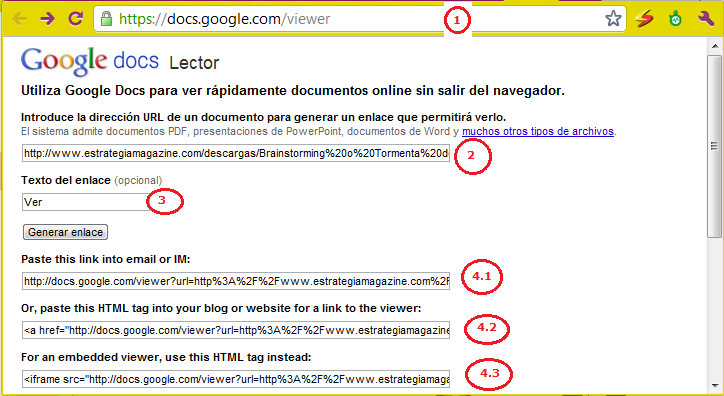 Google Docs viewer para embeber un documento